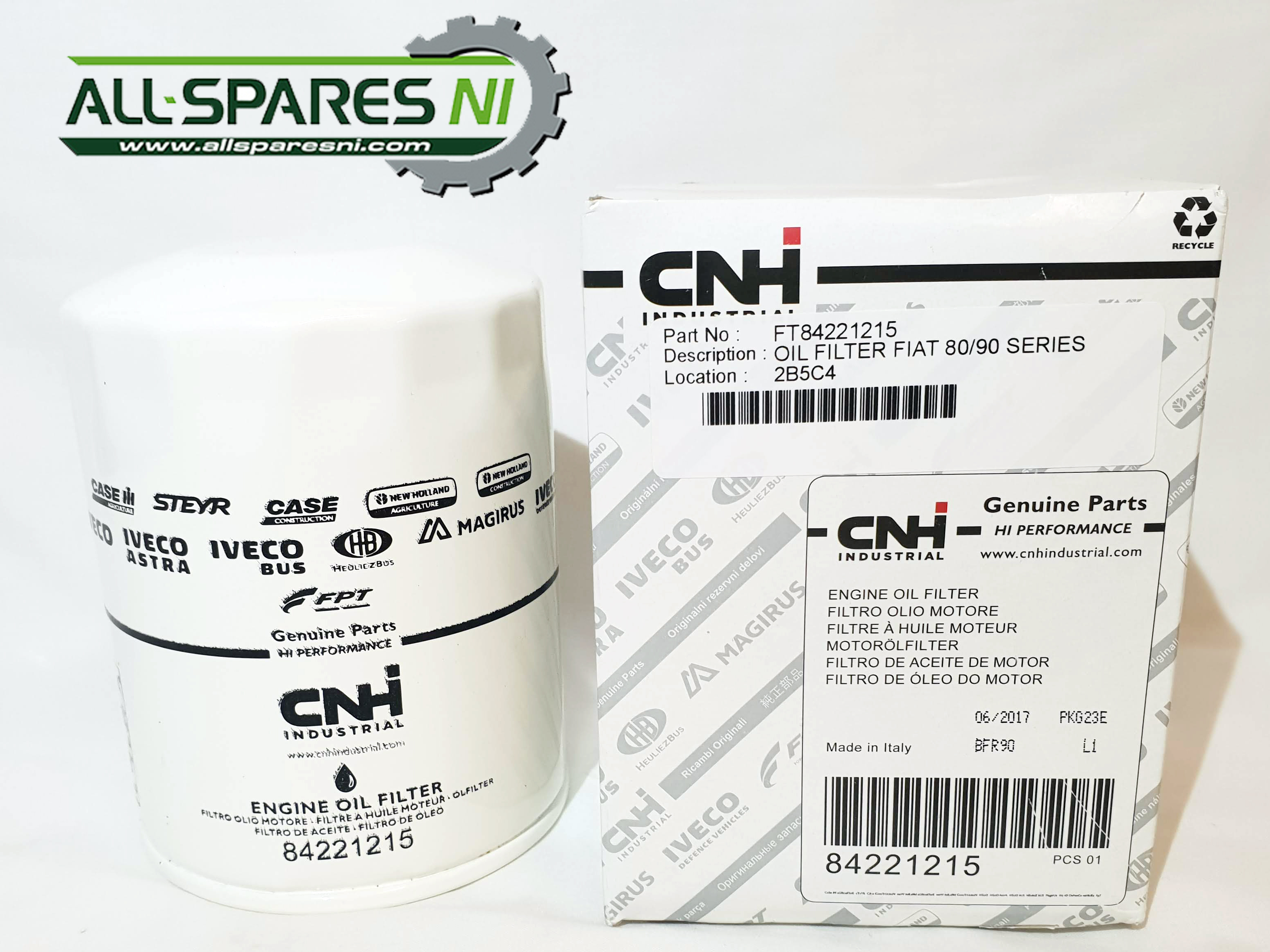 Ford New Holland/Fiat/CASE/Same Spin on Oil Filter - 84221215 - All